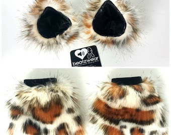 MADE TO ORDER cat ears and wrist cuffs leopard cheetah furry clip in kitty ears animal costume cosplay cat ears headband halloween costume