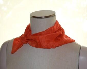 Orange Scarf, Vintage Scarf, Women's Scarf, Ladies' Neckwear, Square Scarf, Small Scarf