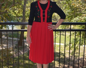 Red and Black Dress, Women's Vintage Dress, Size 6, Peri Petites Dress, Ladies' Red Dress, Christmas Dress, Gift For Her