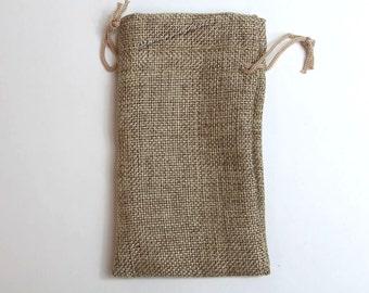 "12pcs ~Burlap Organza bags Tan -3x5"" w/Drawstring, Vintage Gift Bags, Wedding Favor Drawstring Sacks, Party Gift bags, Rustic Colored Jute"