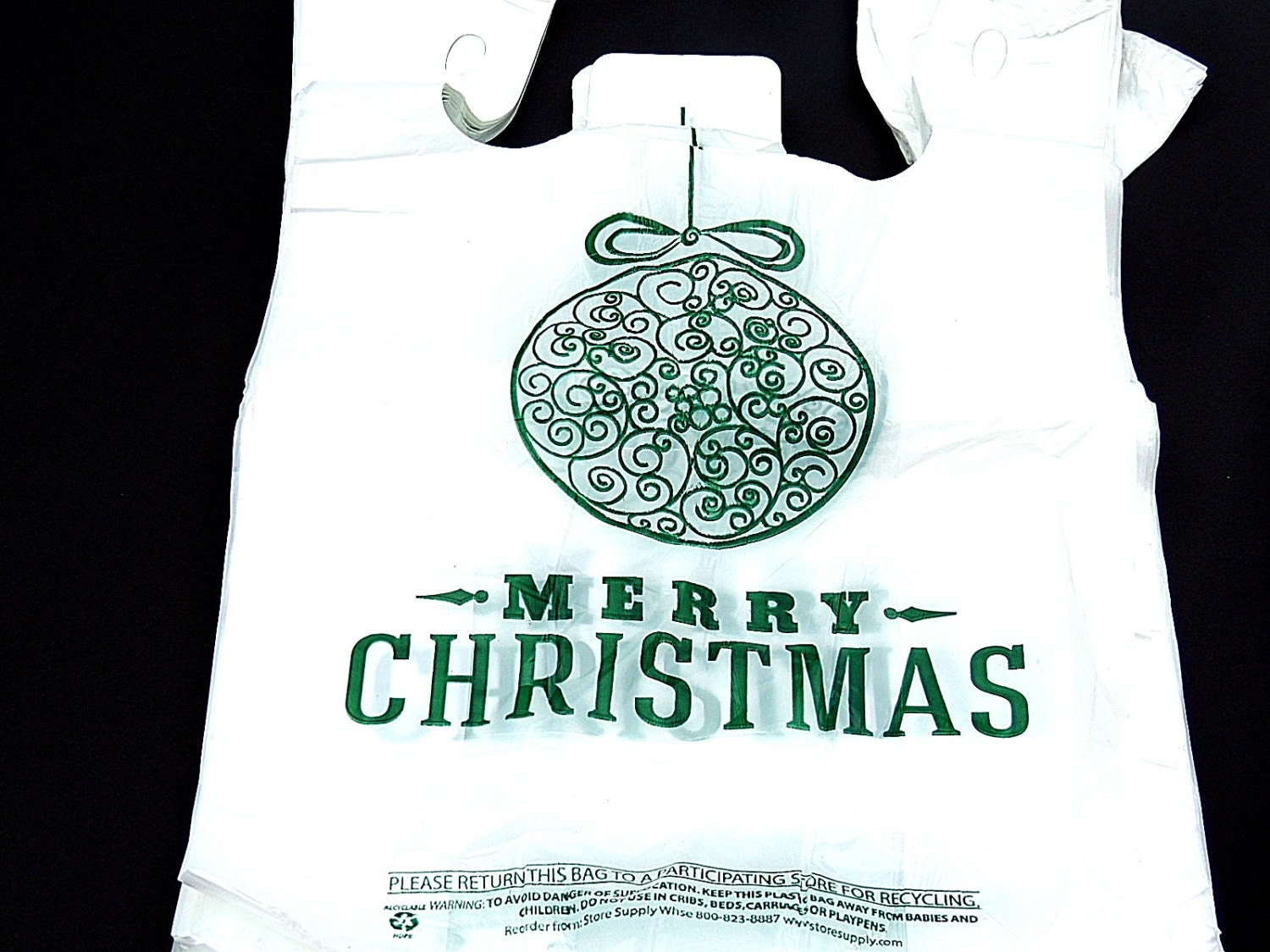100 11 x 21 inch christmas bulb merry christmas plastic for Holiday t shirt bags