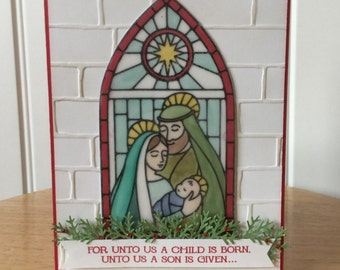 Stampin Up handmade Christmas card - window scene holy family