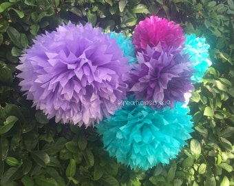 Tissue paper pom poms / 15 Tissue Paper Pom Poms/ Wedding/ Birthday/ Baby Shower/ Bridal Shower/ Nursery