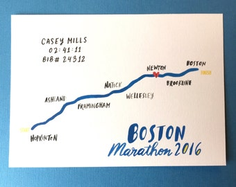2016 Boston Marathon Print with Runner's Time