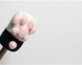 Cat Paw - tuxedo cat, needle felted wool Pencil Cap