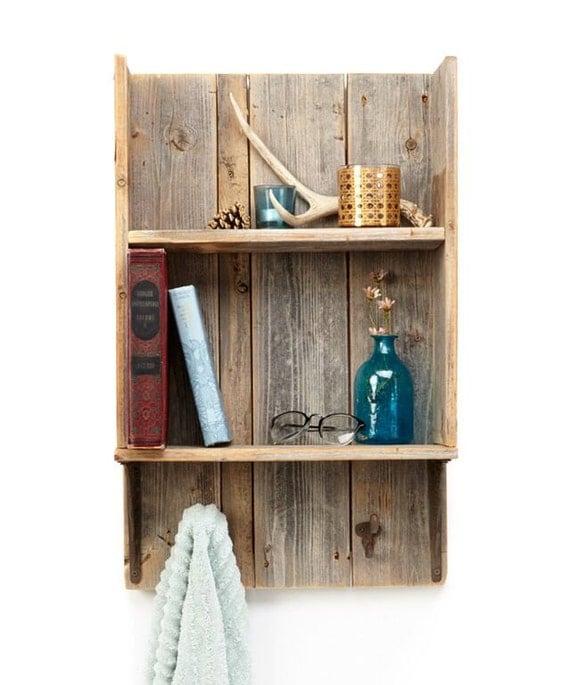 Wood bathroom shelf