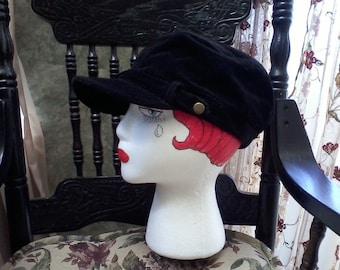 Black Velveteen Cap