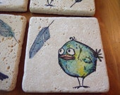Rustic Natural Stone Coasters, Beverage coaster, drink coaster, set of 4 Crazy Bird theme  READY TO SHIP