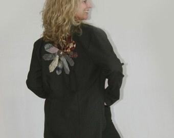 Large Jacket Boho Jacket Fitted Jacket Vintage Jacket Necktie Jacket Black Jacket Tailored Jacket Large Womens Suit Coat Business Jacket