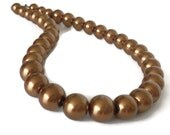Pearl Statement Necklace, Copper Pearl Necklace, Brown Pearl Necklace, Faux Pearl Necklace, Single Strand Pearl Necklace, Glass Pearl