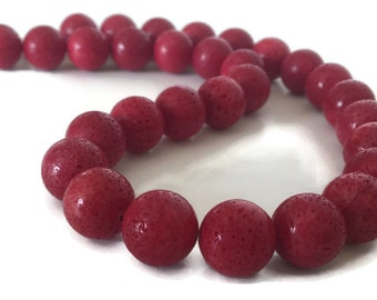 Red Necklace, Red Sponge Coral Necklace, Red Coral Necklace,Red Statement Necklace, Natural Coral Necklace, Red Stone Necklace, Chunky Red