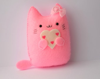 I love you cute pink cat handmade plush doll