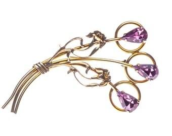 10K Gold Filled Art Nouveau Floral Brooch Amethyst Purple Pin