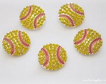 Softball Rhinestone Embellishment - Slider - 20mm- DIY Sports Headbands, Crafts, Party Supplies