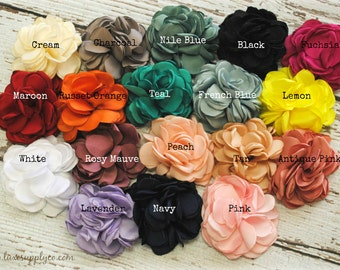 "Singed Petal Matte Satin Flowers - 3"" ( 8 cm ) Gorgeous Handmade Flower - You Choose the Colors and Quantity! DIY Crafting Supplies"