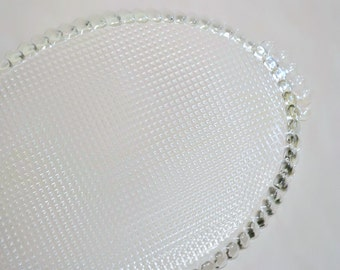 Imperial Glass Large Oval Serving Platter w Side Handles, Hobnail Type Texture, Boopie Type Handles