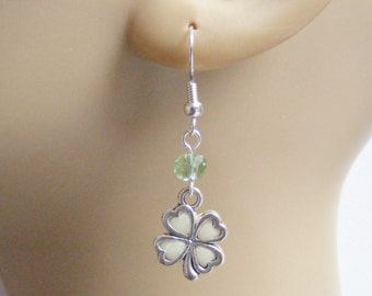 Shamrock Earrings, Lucky Charm Glow in the Dark Earrings Good Luck Earrings, Lucky Earrings, Ireland, Irish, Four Leaf Clover St Pattys Day