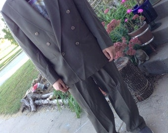 Vintage 80s men's double breasted brown suit free shipping perfect for a Great Gatsby gangster