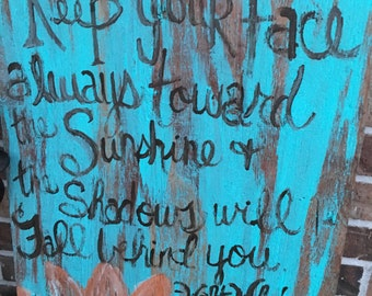 Rustic Sunflower Board with Walt Whitman Quote free shipping