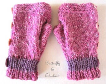 Handmade pink fingerless gloves
