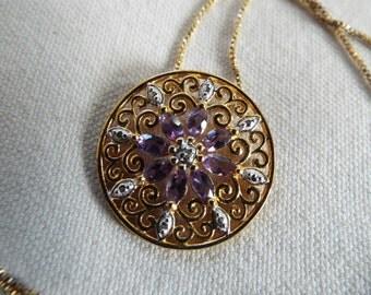 sterling silver filigree  amethyst diamond  pendant necklace February birthstone