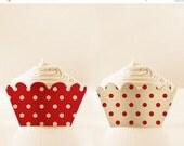 80% off Red Cupcake Wrappers Printable Polka Dots Holders Vintage DIGITAL DOWNLOAD 12/15