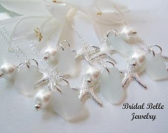 Bridesmaid Sea Glass Starfish Necklaces, Beach Wedding Jewelry, Beach Glass Jewelry, Seaglass Necklaces