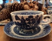 Blue Willow cup and saucer from Staffordshire