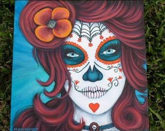 """Sugar Skull...""""Caribe"""" Dia de los Muertos, Day of the Dead acrylic painting 12x12"""