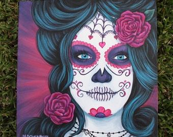 Custom Sugar Skull, Day of the Dead, Dia de los Muertos Painting