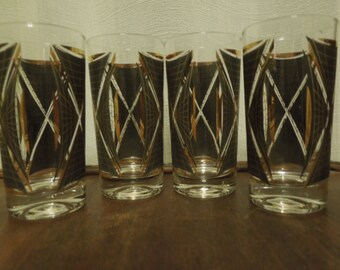 Vintage Atomic Highball Glasses Mad Men Set of Four
