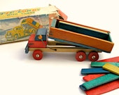 Vintage Wooden Tip Lorry Toy