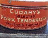 Large Vintage Orange Cuday's Pork Tenderloin Advertising Tin - Cudahy Packing Chicago