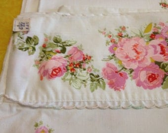 Vintage Feminine Floral Double Flat Sheet - with Original Tags - Pink Floral Design - Lace Trimmed