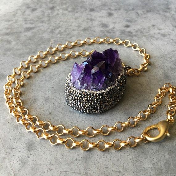 Amethyst Druzy rhinestone necklace, Druzy Jewelry