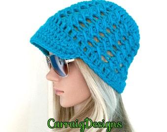 BUY1GET1HALFPrice newsboy peaked turquoise Womens/teens handmade crochet beanie hat,teal irish chunky holiday gift,winter hat xmas gift ooak