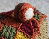 RTS Granny square newborn blanket Newborn bonnet Newborn photography props Chunky knit baby layer Newborn photography set Autumn colours