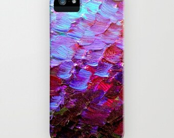 MERMAID SCALES Deep Violet Purple Red Turquoise Ombre Art iPhone Case 4 5s 5c SE 6 6s 7 Plus Samsung Galaxy Eggplant Ocean Hard Phone Cover