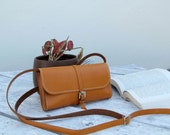 100% handmade leather bag, handstitched brown leather bag by GENATI , woman leather bag, small bag