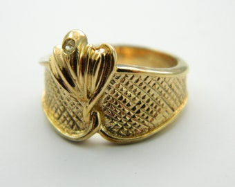 Gold Deco Fan Ring