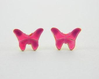14k Gold Filled Pink Butterfly Earrings
