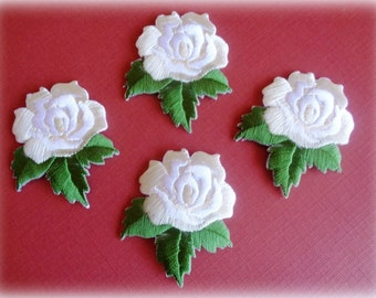 Victorian Open Rose Embroidered Iron - On Applique, Ivory / Green, x 4, For Romantic & Victorian Crafts