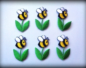 Bumble Bee Iron On Embroidered Appliques Yellow Green X 6 For