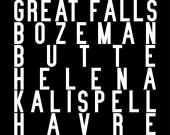 Montana subway sign art repping Billings, Missoula, Great Falls, Bozeman, Butte, Helena, Kalispell, Havre, Anaconda