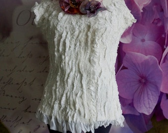 "Nuno Felted white luxury jacket Vest ""Tenderness"""
