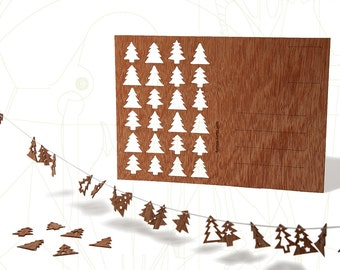 postcard wood - 24 firs/adventcalender 3 cards