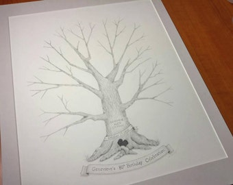 "Guest Book Tree -Hand-drawn Fingerprint Tree 11"" x 14""-Wedding, Baby Shower, Birthday Party, Reunion"