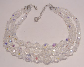 Three Strand Crystal Aurora Borealis Necklace