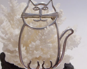 Large Sterling Silver Cat Pin Signed BW
