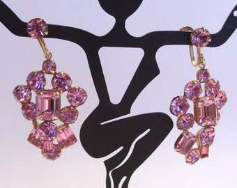 Large Pink Rhinestone Dangle Earrings Perfect for Prom or a Wedding